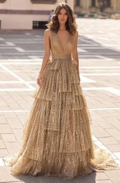 Tarik Ediz - 93943 Deep V-neck Layered A-line Dress - Source by bughsmi - Women's Dresses, Elegant Dresses, Pretty Dresses, Wedding Dresses, Gold Prom Dresses, Sleeveless Dresses, Long Gold Dress, Long Fancy Dresses, A Line Dresses