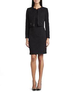 Large Houndstooth Sleeveless Dress & Jacket Set by Albert Nipon at Neiman Marcus.