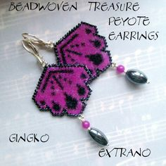 Peyote Earrings  GINGKO  Pattern ONLY without detailed by Extrano