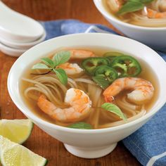 Warm and comforting, this Shrimp Pho is our take on the classic Vietnamese soup. Shrimp Recipes, Soup Recipes, Cooking Recipes, Seafood Pho Recipe, Chilli Recipes, Recipies, Asian Recipes, Healthy Recipes, Ethnic Recipes