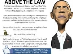 Is Obama above the law? Or is he in direct violation of The Constitution of the United States? I think we all know the answer to that question. Obamacare is just one example. Our congressional representatives need courage to do what's right and impeach this tyrant NOW!