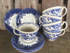 vintage blue and white transfer ware china tea by 1350Northvintage