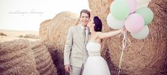 balloons have become classy. Cowgirl Wedding, Farm Wedding, Wedding Bells, Wedding Events, Rustic Wedding, Wedding Photo Albums, Wedding Photos, Pastel Balloons, Hay Bales