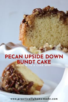 Pecan Updside Down Bundt Cake Recipe - Practically Homemade Pecan Upside Down Bundt Cake Recipe feat Pecan Recipes, Cake Mix Recipes, Baking Recipes, Dessert Recipes, Holiday Desserts, Just Desserts, Delicious Desserts, Desserts With Pecans, Pecan Desserts