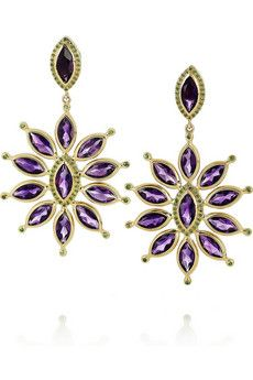 Ileana Makri Sea Flower 18-karat gold, amethyst and tsavorite earrings | THE OUTNET