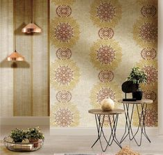 Metallic gold tones warm up modern wallpaper and add a touch of luxury to easily elevate any space. Gold Wallpaper, Modern Wallpaper, Golden Life, Gold Pattern, Tapestry, Wall Art, Metallic Gold, Luxury, Warm