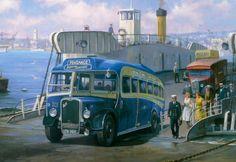 Bristol LL6B Duple, de Royal Blue, línea de Penzance, saliendo del transbordador en Torpoint, Cornualles (detalle)