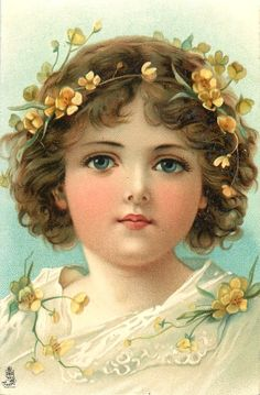 vintage Christmas postcard ~ young girl with flowers in her hair illustration Images Noêl Vintages, Images Vintage, Vintage Christmas Images, Old Christmas, Victorian Christmas, Vintage Holiday, Vintage Pictures, Christmas Wishes, Christmas Ideas