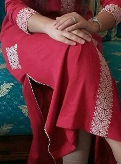 Embroidery On Kurtis, Kurti Embroidery Design, Embroidery On Clothes, Couture Fashion, Hijab Fashion, Fashion Dresses, Mode Abaya, Mode Hijab, Caftan Gallery