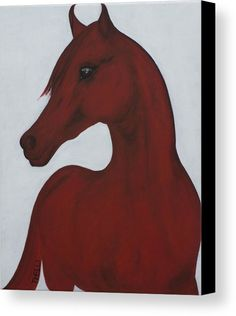 Horse Painting Canvas Print featuring the painting Red Arabian Passion 2 by THELLI Helenia Tedesco