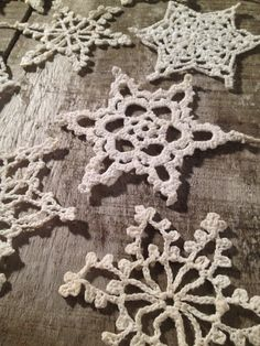 Vintage Crochet Snowflake Ornaments Set of 12 by ZassysTreasures, $25.00