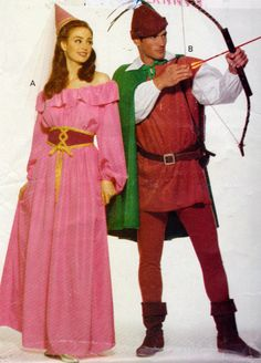 Robin Hood and Maid Marion, Unisex Adults Costume Sewing Pattern, Adults Sizes XS to M Halloween Costume Pattern by OnceUponAnHeirloom on Etsy