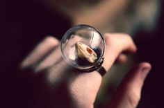 Lizard Skull Glass Dome Ring