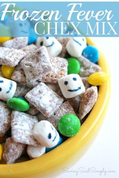 Frozen Fever Chex Mix Recipe | Perfect for your Disney Frozen Party SavingSaidSimply.com