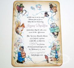 Items similar to Baby Shower Invitation - Peter Rabbit - vintage appearance- set of 20 on Etsy