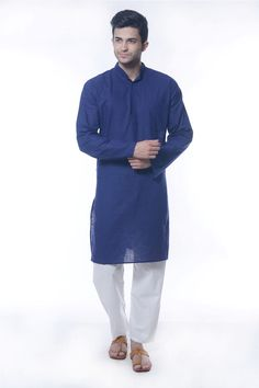 BLUE COTTON READYMADE KURTA PYJAMA