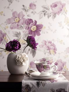 From the Laura Ashley Peony Amethyst collection Vibeke Design, Lavender Cottage, Laura Ashley Home, Peony Print, Color Lila, Pastel Decor, All Things Purple, Shades Of Purple, Purple Lilac