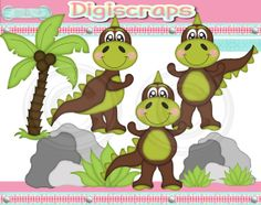 Lil Dino Boys Green digital Clip Art Set  Clipart by Digiscrapsau, $2.00
