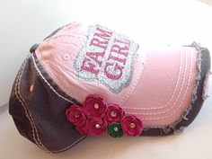 farm girl distressed baseball cap by LoveCrazyDesigns on Etsy