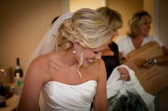 wedding hair, veil, and the most beautiful earrings