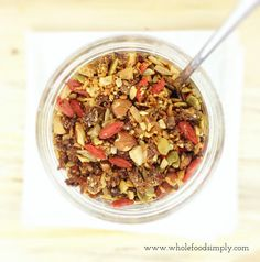 Call it Granola. Call it Toasted Muesli. Either way it is divine. This recipe is simple and truly delicious! Free from gluten, grains, dairy, egg and refined sugar Sweet Recipes, Whole Food Recipes, Cooking Recipes, Healthy Meals For Kids, Healthy Snacks, Healthy Eating, Sugar Free Cereal, Muesli Recipe, Raw Vegan Recipes