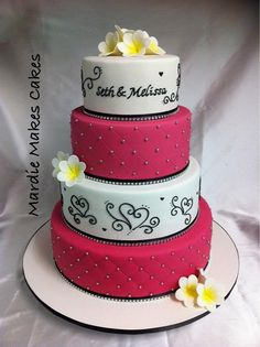 Pink Black White Wedding Cake | Mardie Makes Cakes | Flickr