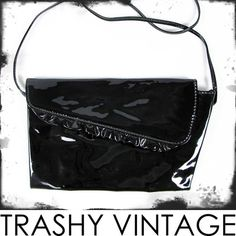 vtg 80s glam blk FAUX PATENT LEATHER vegan RUFFLE CROSSBODY shoulder bag purse $9.99