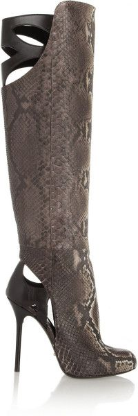 Love this: Cutout Python and Leather Knee Boots SERGIO ROSSI dressmesweetiedarlnig