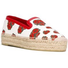 Alexander McQueen poppy print espadrilles (935 BRL) ❤ liked on Polyvore featuring shoes, sandals, floral platform sandals, leather espadrilles, slip on sandals, braided leather sandals and leather platform sandals