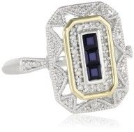 S Sterling Silver and 14k Yellow Gold Blue Sapphire and Diamond-Accent Art Deco Style Ring