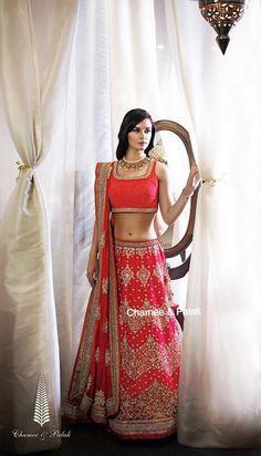 sleeveless blouse, raw silk lehenga, horizontal pattern, raw silk lehenga,Chamee and Palak, bridal lehenga