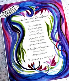 MOTHER and DAUGHTER Original Poem Inspirational Print by Heartfulart Original #Poem by Raphaella Vaisseau #Heartfulart  #mother #daughter #raphaella_vaisseau #heartful_art #etsy #family #relationship #parent #child #birthday #gift #poster #mother_and_daughter #print #mothersday #mothers_day