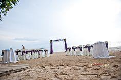 negril jamaica beach wedding.  Purple wedding color.  Sea wind resort