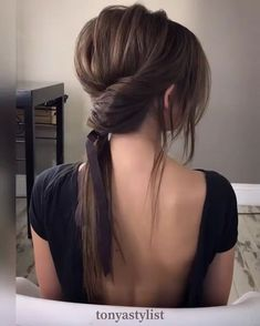 """""""Elevate your ponytail with a simple twist and beautiful ribbon Hair inspo from the talented…"""" Hair Inspo, Hair Inspiration, Luxy Hair, Wedding Ponytail, Wedding Hair, Hair Styles Wedding Guest, Business Hairstyles, Pinterest Hair, Ribbon Hair"""