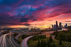 Seattle Summer Sunset by Thorsten Scheuermann   https://www.flickr.com/photos/thorstenator/9287770936/