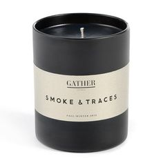 Smoke & Traces Candle by Joya, an enchanting fusion of blood orange, wood smoke and cedar