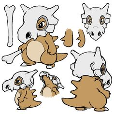 Made some Cubone refs, the back of the skull probably makes no sense but w/e. Its hands are mittens.