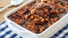 Slow-cooker Barbequed Beans-these tangy beans travel well—transport in the same pot they're cooked in and they'll stay hot for serving. Best Slow Cooker, Slow Cooker Recipes, Crockpot Recipes, Cooking Recipes, Crockpot Dishes, Bbq Baked Beans, Bbq Beans, Potluck Recipes, Side Dish Recipes