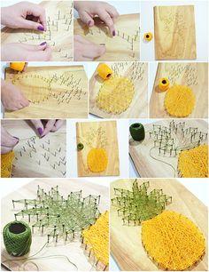 """Quem acompanha o Instagram do @modices ja viu esse abacaxi feito com a técnica """"string art"""", que nada mais é do que uma arte feita com cordas ou linhas"""