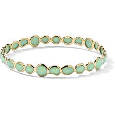 Ippolita 18k Rock Candy Gelato Bangle in Mint Chrysoprase ($1,733) ❤ liked on Polyvore featuring jewelry, bracelets, gold, ippolita, chrysoprase jewelry, 18k jewelry, mint green jewelry and 18 karat gold jewelry