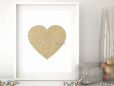 "Printable golden glitter heart, Valentines printable, nursery print, nursery decor, printable home decor, 8x10"" 5x7"" 4x6"" heart card -gp025"