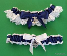 Ready to ship today! Beautiful, heirloom-quality garter set - completely handmade using only the highest quality materials. The keepsake garter has an anchor charm; the toss garter has a compass charm. Both charms are made out of Tibetan Silver. (Nautical Beach Wedding Bridal Prom Garter Set Ocean Coastal US Navy Coast Guard Blue White Venice Venise Lace Anchor Compass)