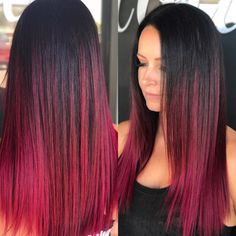 Check out this Long Sleek Ruby Magenta Ombre Colored Hair with Short Layers and other stunning long hairstyles at Hairstyleology.com