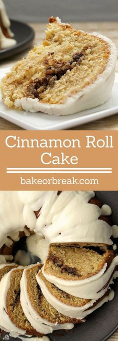 Cinnamon Roll Cake takes all the flavors you love in cinnamon rolls and puts them into a delicious cake! - Bake or Break ~ http://www.bakeorbreak.com