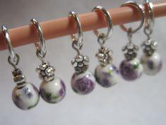 Purple flower stitch markers. Ceramic beaded by ArtsParadis, $7.00