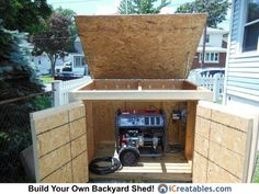 Shed House Plans Generator Shed, Emergency Generator, Camping Generator, Portable Generator, Shed Organization, Shed Storage, Big 3d Printer, Small Generators, 8x12 Shed Plans