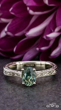 Montana Sapphire Antique Engagement Ring #GreenLakeJewelry