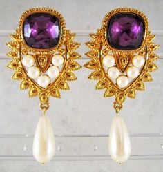 VINTAGE SHAILL JHAVERI FOR AVON IMPERIAL ELEGANCE PURPLE CRYSTAL PEARL EARRINGS #JHAVERIFORAVON #Chandelier