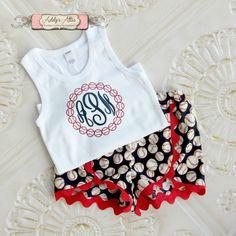 Baseball Outfit, Girls Baseball Outfit, Baseball Shorts, Glitter Baseball Shirt, Toddler Girls Baseball Outfit, Glitter Monogram Shirt by AddysAtticOnEtsy on Etsy https://www.etsy.com/listing/268411250/baseball-outfit-girls-baseball-outfit