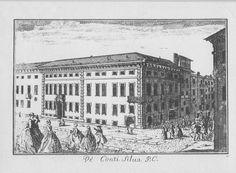 """Palazzo Silva, via del Lauro angolo via Broletto, Milano. Marc'Antonio Dal Re, """"Vedute di Milano"""", incisione 39 (ca. 1745)."""